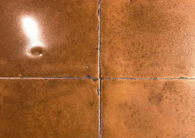 Patina Copper worktop with Rolled Edge