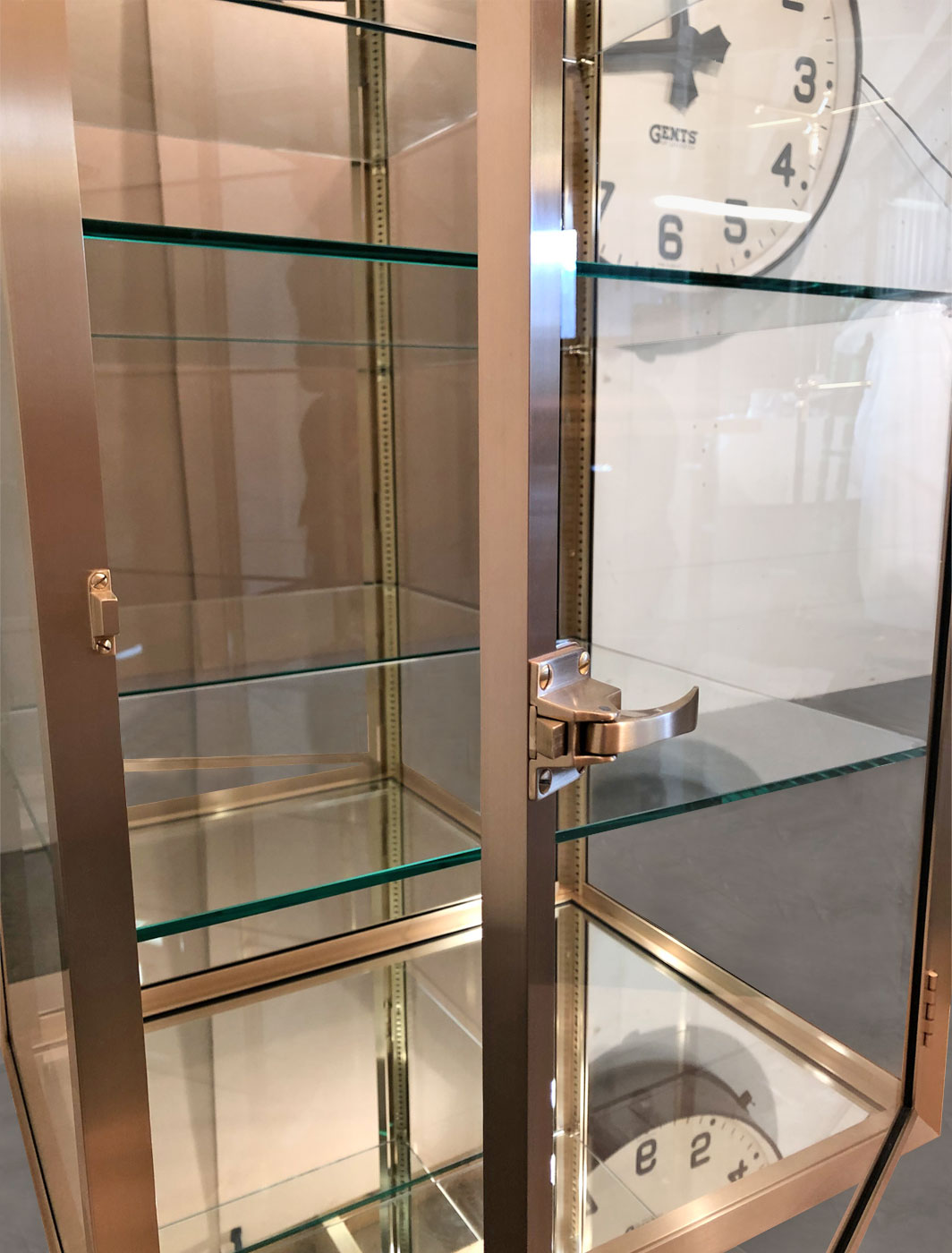 Beautiful Bespoke Brass and Glass Mirror Cabinet
