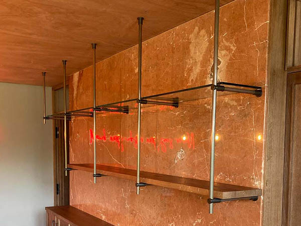 Patinated Copper & Bronze Contemporary Industrial Wall Shelving Unit