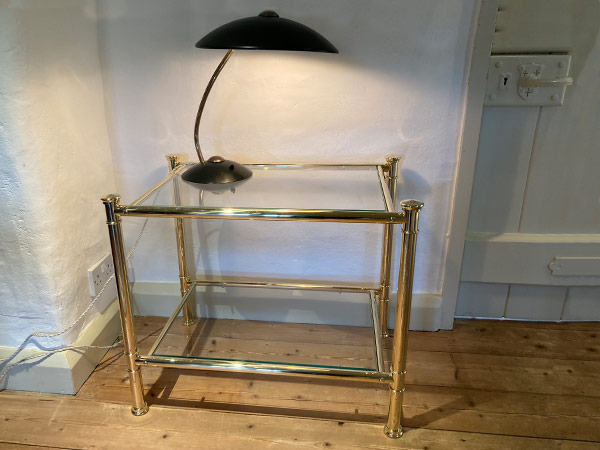Custom Made Solid Brass & Glass Luxury Side Tables